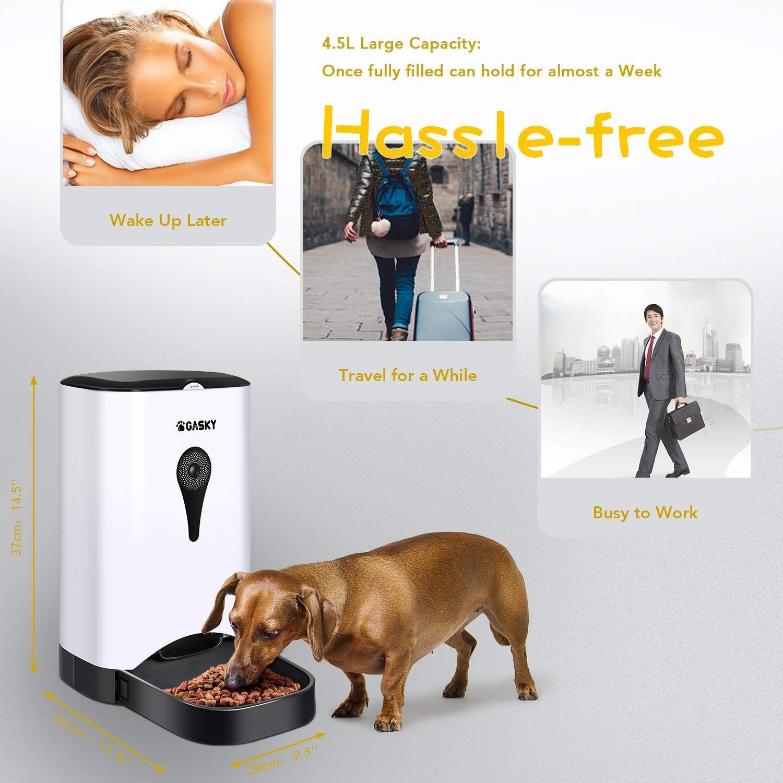 Gasky Automatic Cat Pet Smart Feeder A App Control Dog Food Dispenser With Wifi Camera Video 4 5l Large Capacitydistribu Automatic Cat Pet Feeder App Control