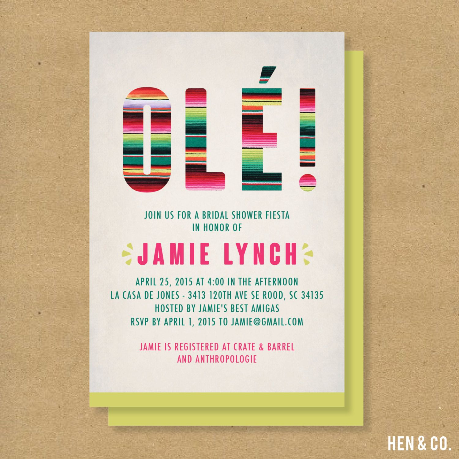 Ole mexican fiesta themed baby shower or bridal shower for Themed bridal shower invitations
