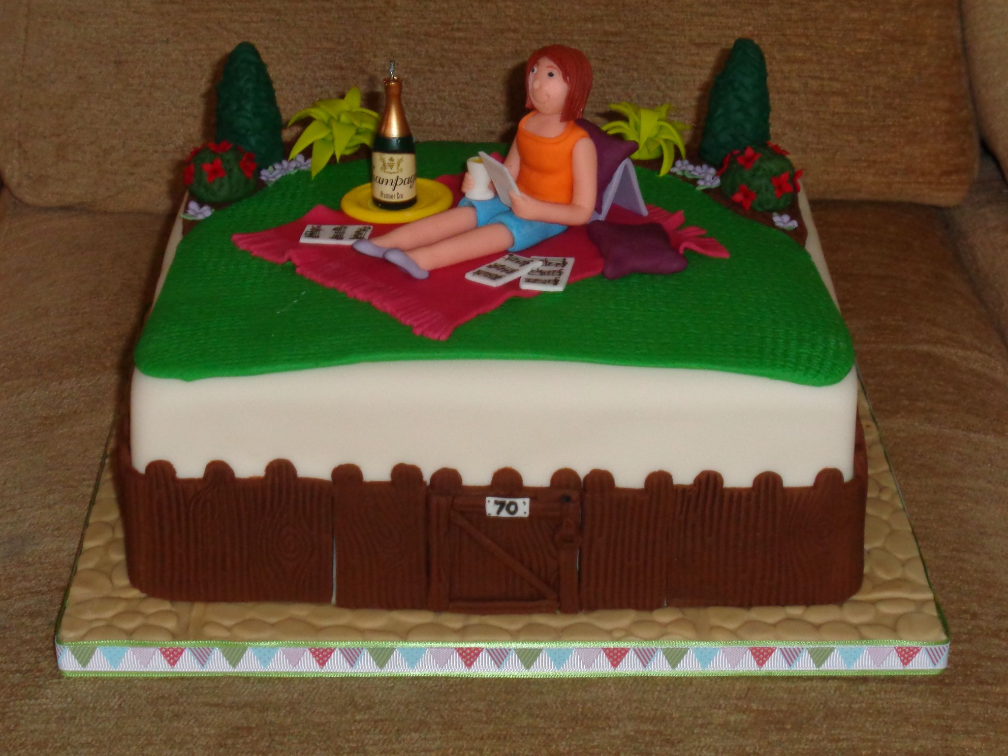 Birthday cake with sugar model in garden theme | Made by Chrissies ...