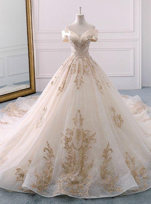 Champagne Tulle Gold Appliques Off The Shoulder Wedding Dress #debutideas