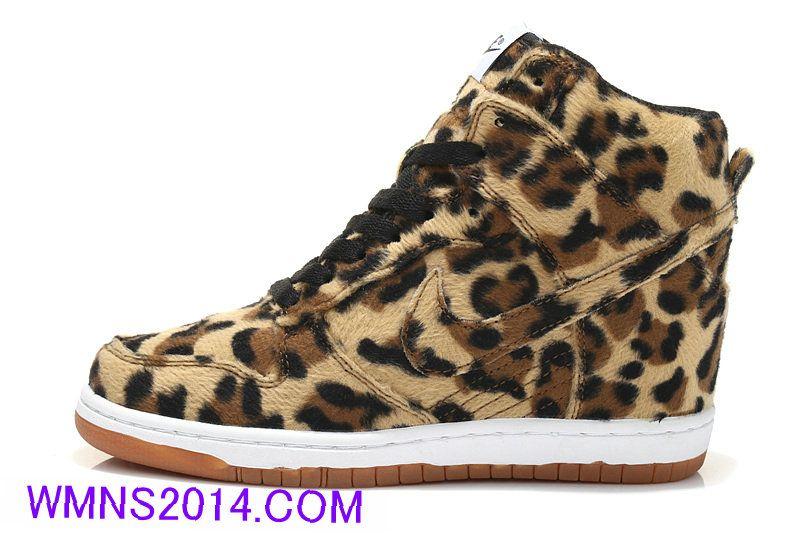 online store 15650 14e8d Nike Dunk Sky Hi Womens Leopard Print Nike Dunk Sneakers