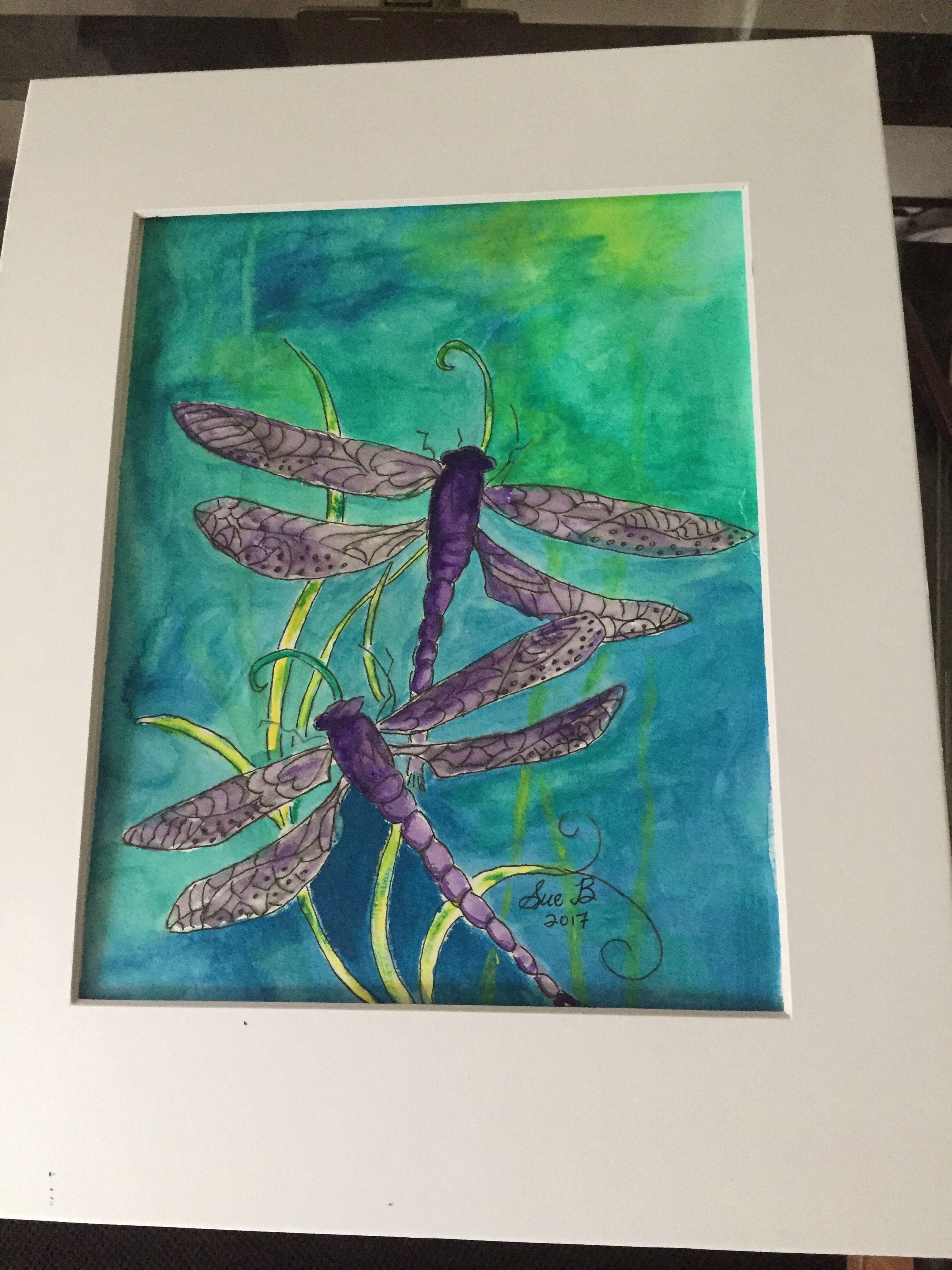 Purple dragonfly, watercolor, guache