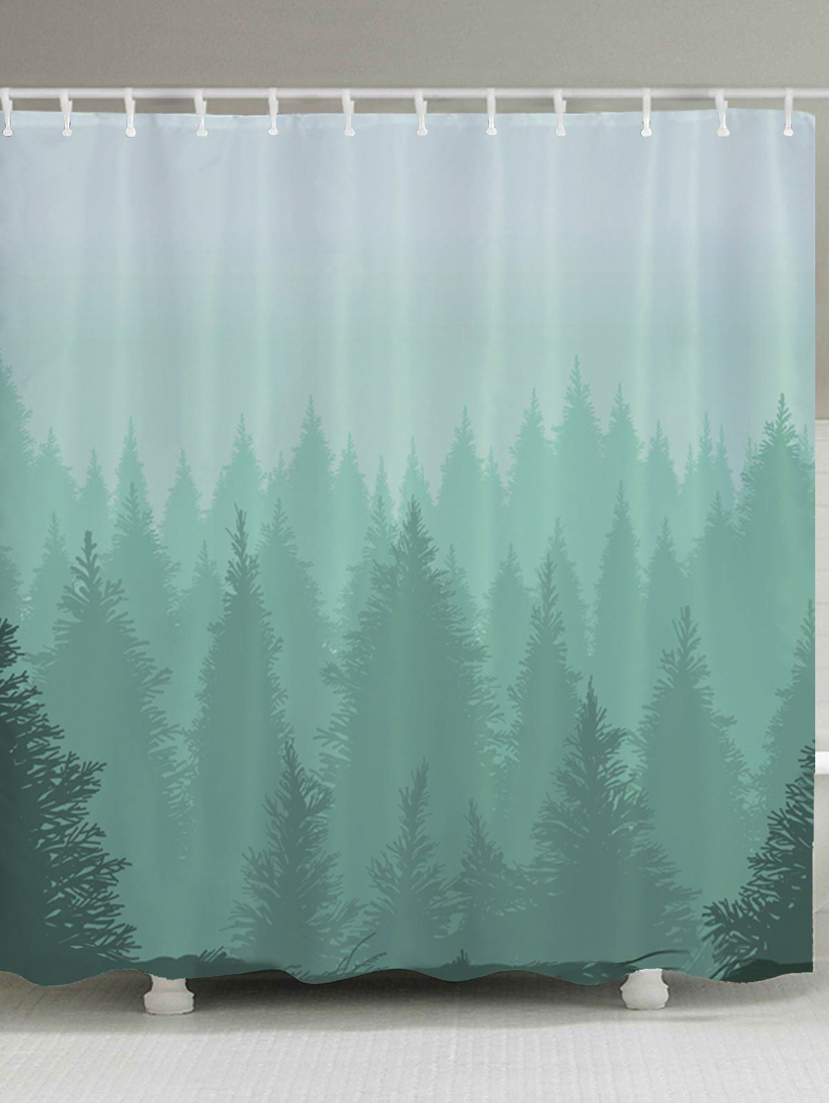 Fog Forest Print Fabric Bathroom Shower Curtain With Images