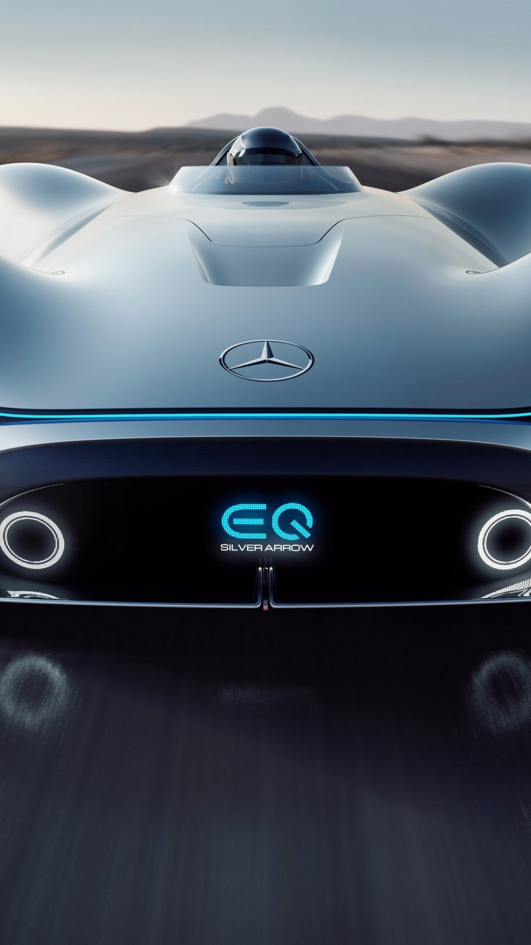 Front 2018 Mercedes Benz Vision Eq Silver Arrow On Road 1080x1920