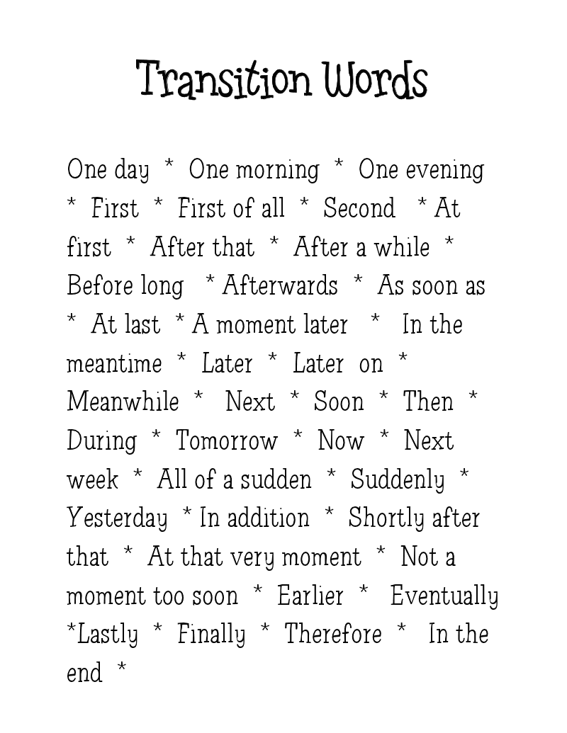 transition words list for essays