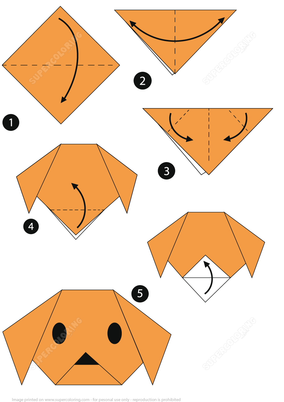 Origami Step by Step Instructions of a Dog Face Free