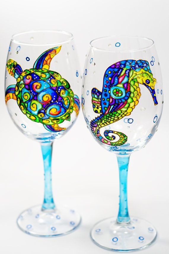 Bridesmaid Gift Beach Wedding Wine Gles Summer Favors Seahorse And Turtle Glware Set Of 2 Toasting By Vitraaze On