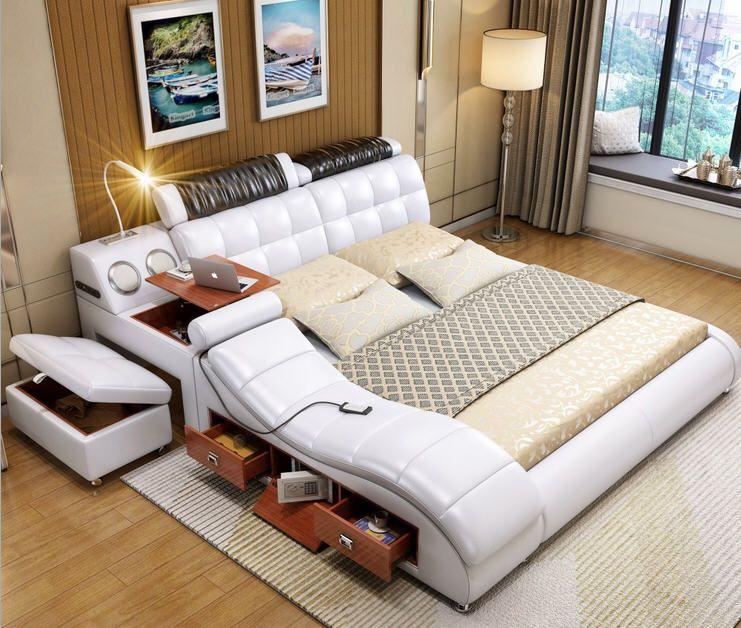 Real Genuine Leather Bed Frame Massage Soft Beds Bedroom Furniture
