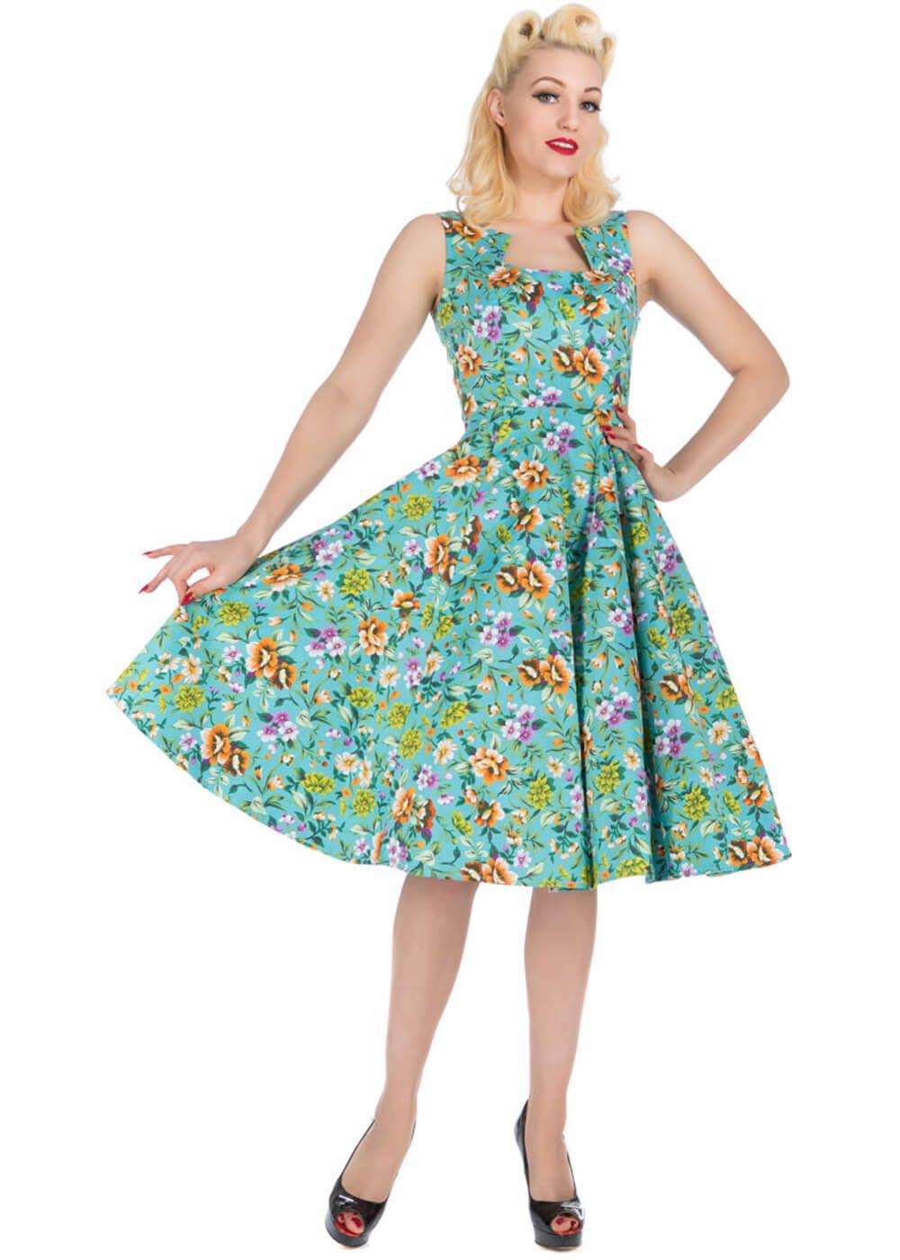 Retro Kleding.Retro Kleding Hr Karina Turquoise Floral Dress Een Bloemenjurk Die