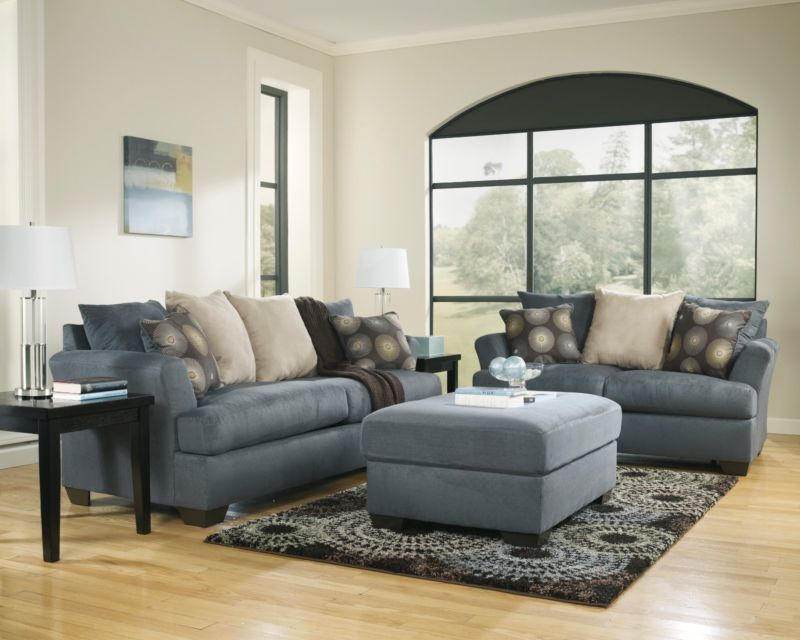 Ashley Mindy Indigo Blue Contemporary Plush Pillow Back Sofa Loveseat Chair Set