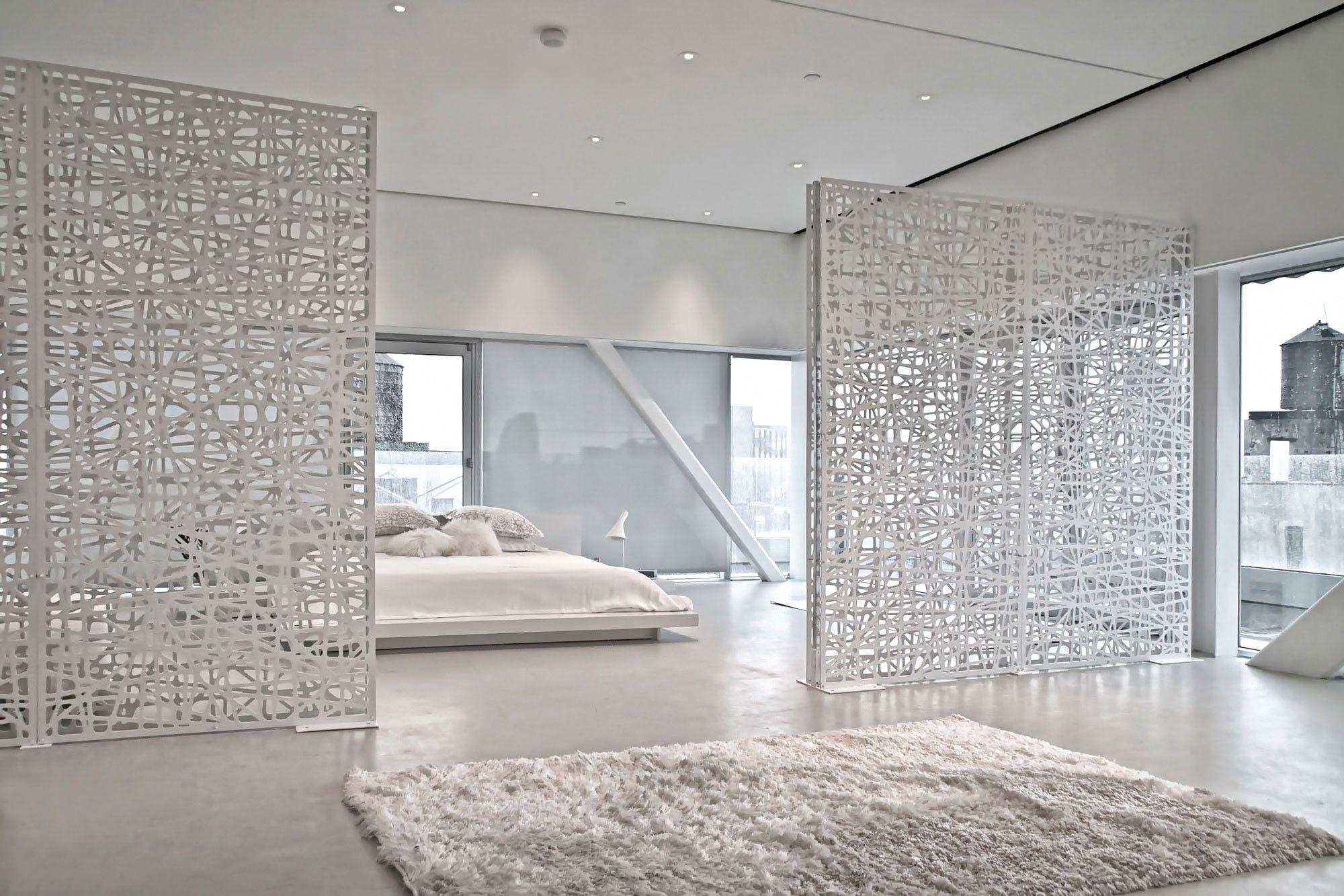 Decorative Screen Room Dividers Separate Living Room And Bedroom In Open Loft Apartment Freestanding Screens Are Ea Diy Room Divider Bedroom Diy Room Divider