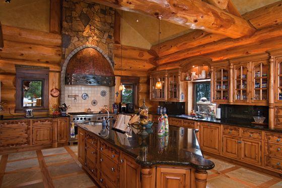 Fancy Kitchen Log Home Kitchens Log Homes Log Cabin Kitchens