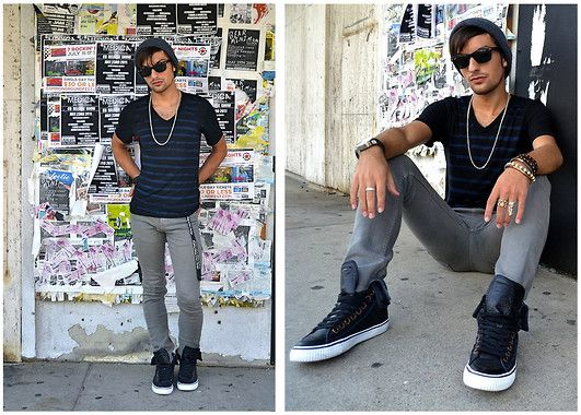 Get this look: http://lb.nu/look/2234971  More looks by Kevin H: http://lb.nu/kevin91  Items in this look:  Ray Ban Wayfarers, Vox Populi Striped V Neck, Obey Gray Skinnies, True Religion Leather High Tops, Thrift Silver Chain