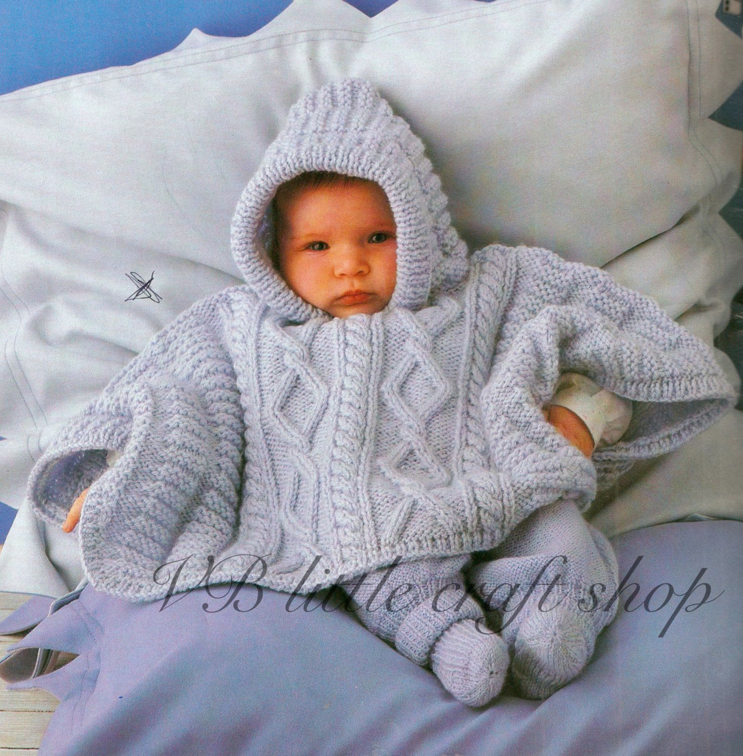 Baby\'s hooded poncho knitting pattern. 3 sizes by VBlittlecraftshop ...