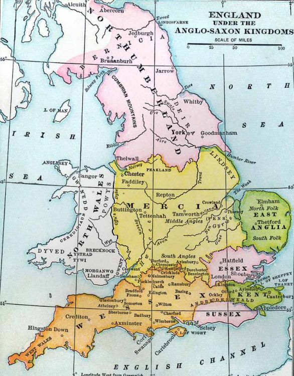 Map Of England During Anglo Saxon Times.Map Of The British Isles During The Anglo Saxon Period British