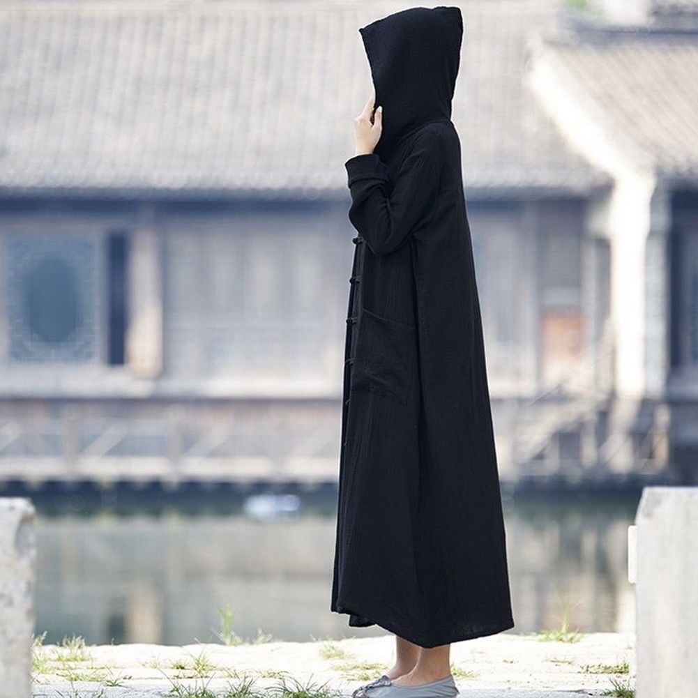Womenus long sleeve cotton linen hooded frog button long coat witch