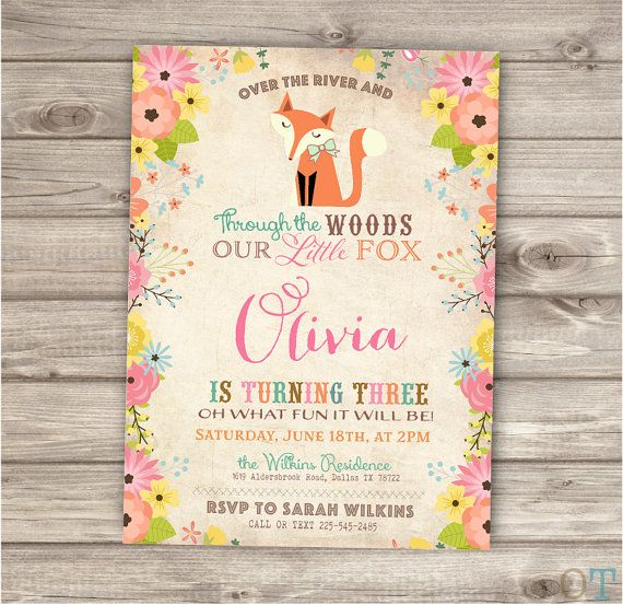 Fox Birthday Invitations Printable Invitations Floral by cardmint