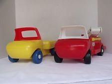 vintage little tikes vehicles firetruck & flat bed truck baby