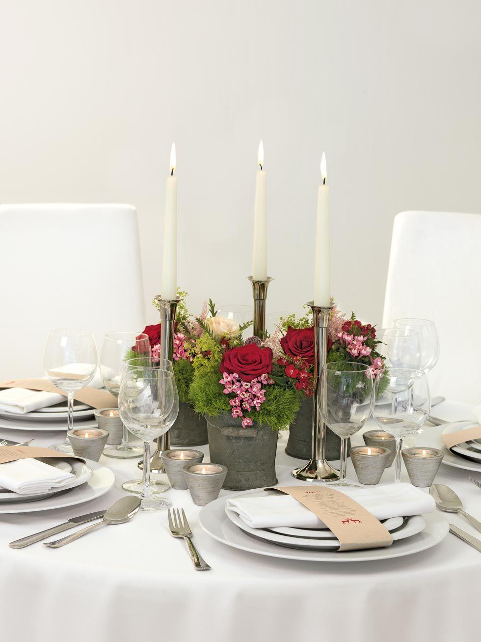 Rustikal Moderne Tischdekoration In Den Bergen Deko Farbe Rot