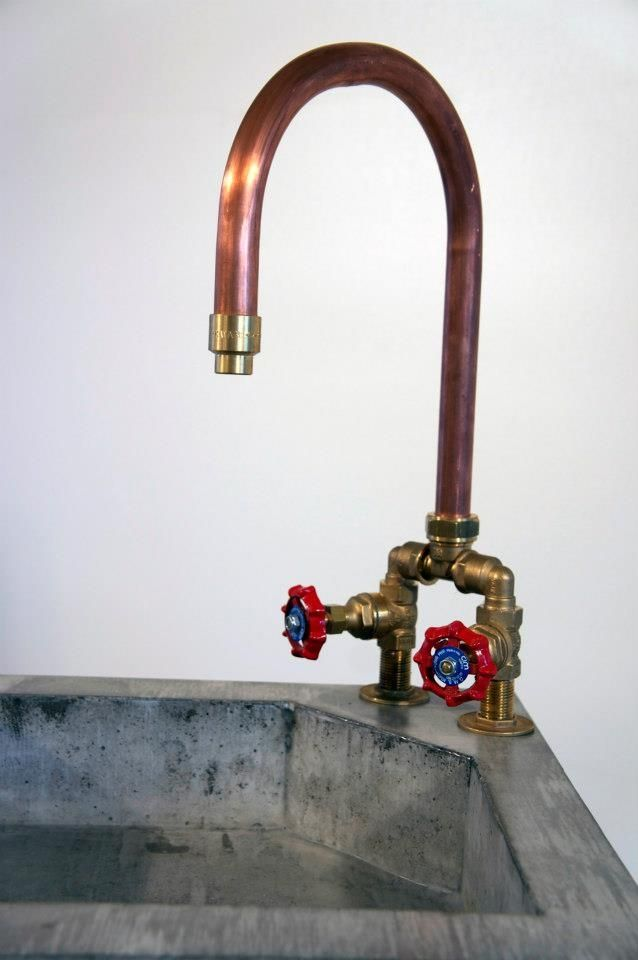 Concrete sink with copper tap by www.janjongejans.nl I love the ...