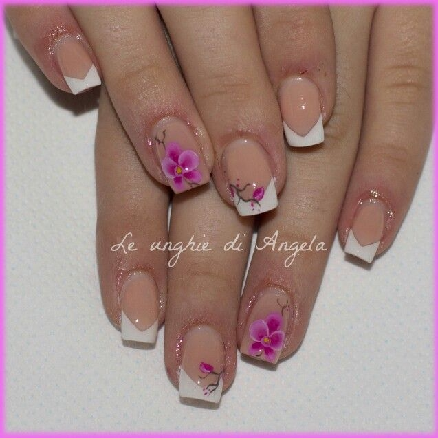 Gel Nails V French Manicure And One Stroke Orchids Gel Manicure Designs Gel Acrylic Nails Nails