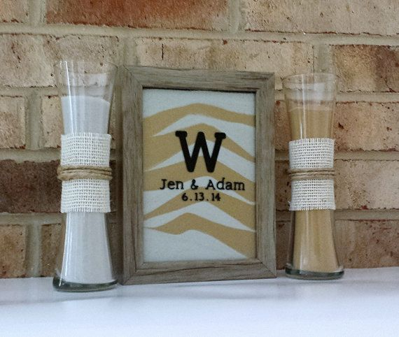 On Personalized Rustic Barn Wood Wedding Sand Ceremony Frame Set With Free Personalization Unity Shadow Box