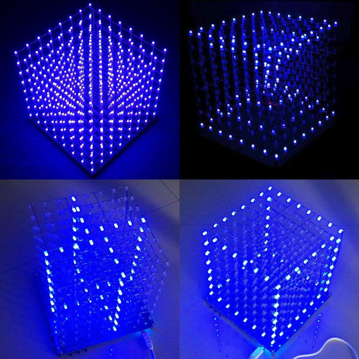 Arduino DIY 8x8x8 LED Cube 3D Light Square Electronic Soldering Sarter Kit Board (Blue Led
