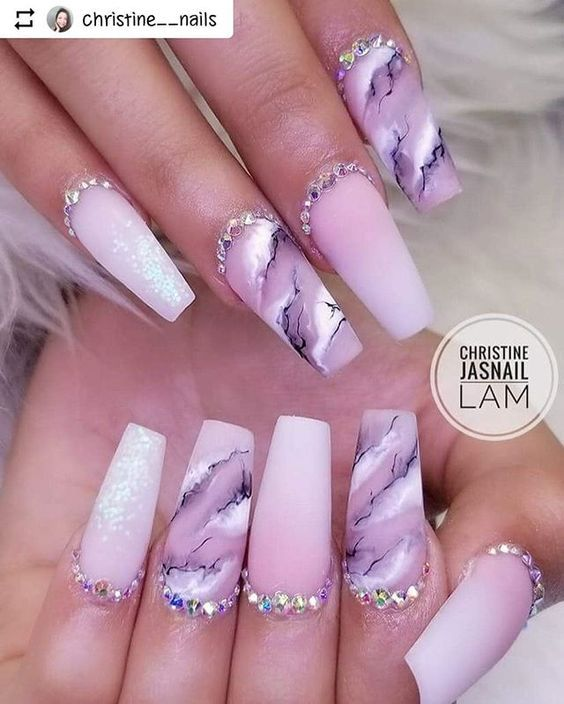63 Stunning Marble Acrylic Nails Art Designs
