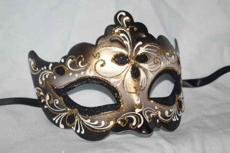 Half Face Masked Ball Masks on a Gold Stick - Giglio Fiore