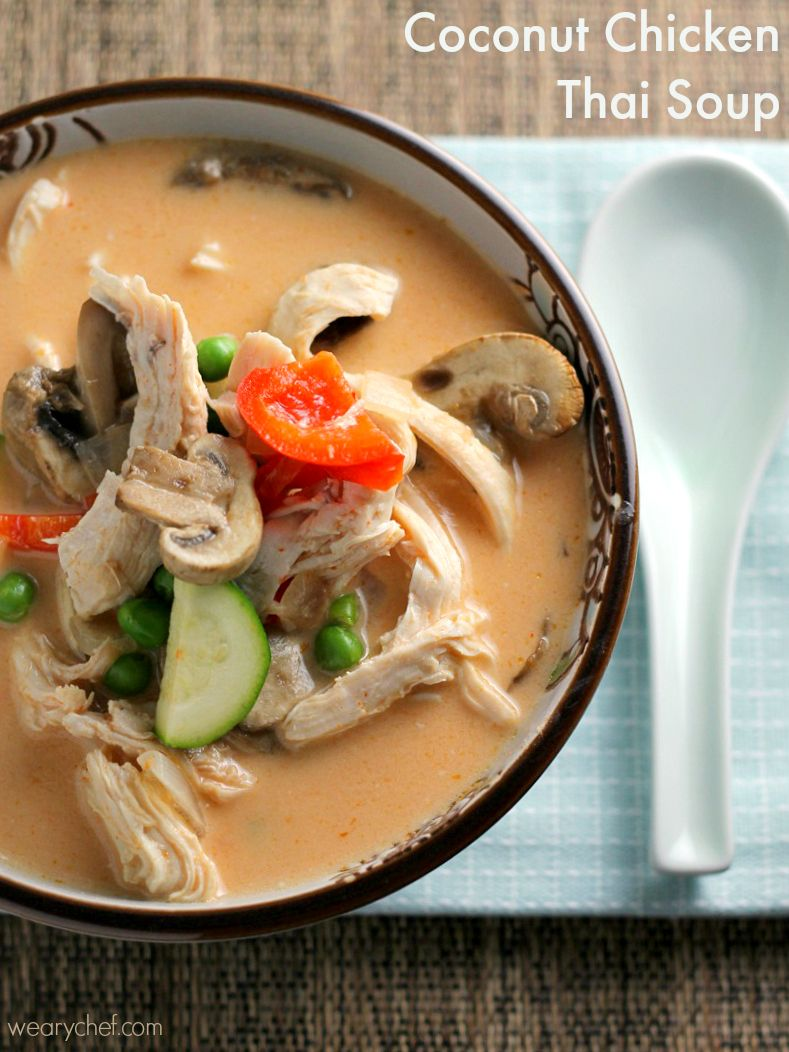 This easy Coconut Chicken Thai Soup in a slightly sweet, creamy broth makes for a healthy, delicious dinner.
