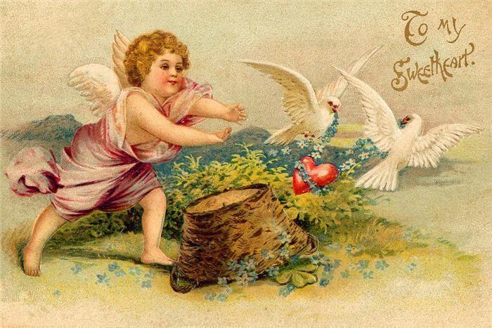 Старые открытки с днем валентина, днем