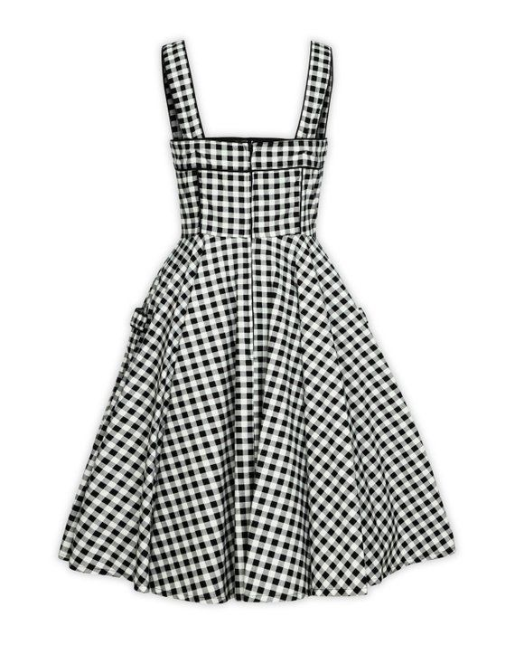 4022e607166af Plus Size Black and White Checkered Dress Vintage Dress Summer Dress  Rockabilly Pinup Dress 50s Retr