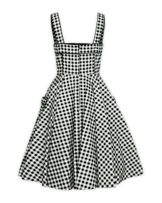 f24db3a074c9 Plus Size Black and White Checkered Dress Vintage Dress Summer Dress  Rockabilly Pinup Dress 50s Retr