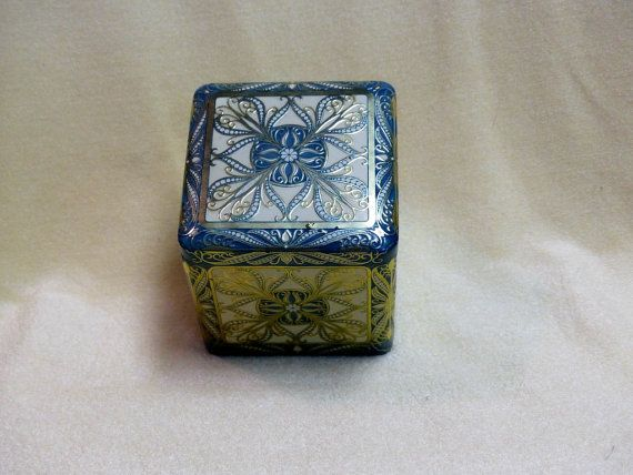 Vintage tin from 1960s  blue and silver ornate by landsTreasures
