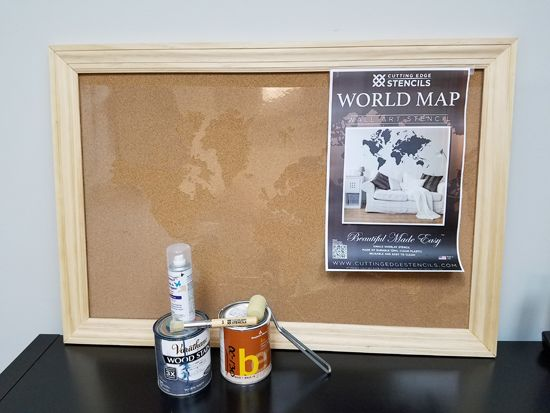 How to stencil a cork board using the world map pattern pinterest the materials needed to stencil a cork board with the world map wall art stencil from cutting edge stencils gumiabroncs Gallery