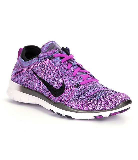 on sale 03f53 f4ca0 Vivid Purple Fuchsia Glow Light Violet Black Nike Free 5.0 TR Fit 5 Flyknit  Training Shoes