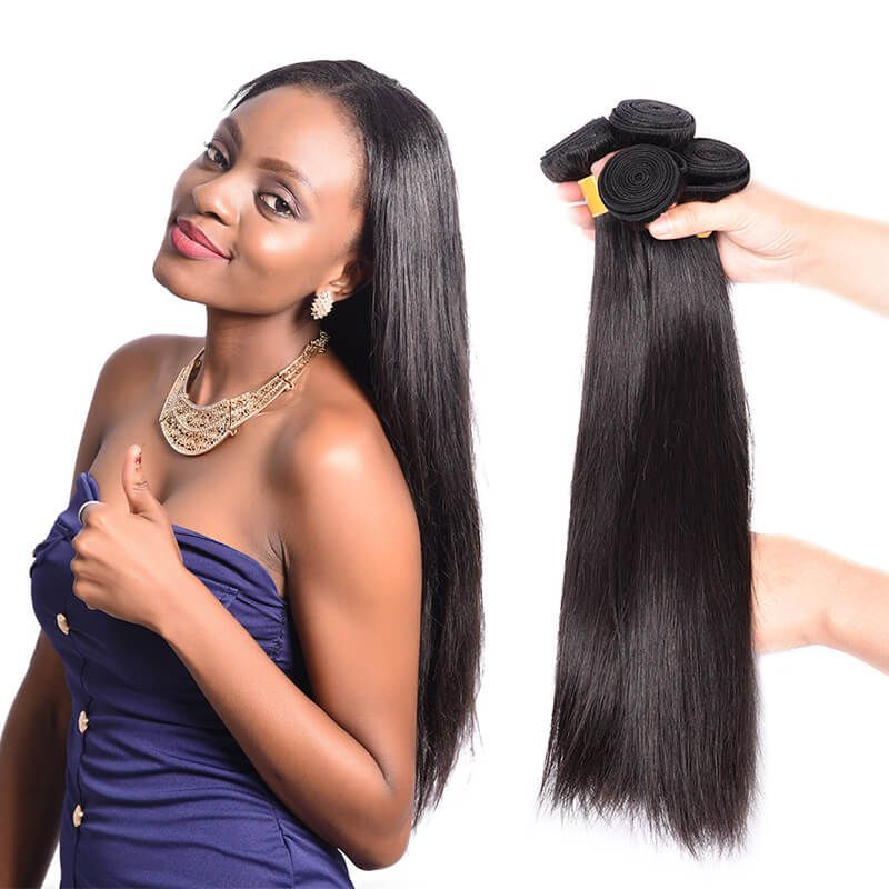 Brazilian Virgin Hair Straight Hair Weave 4 Bundles Human Hair 1b
