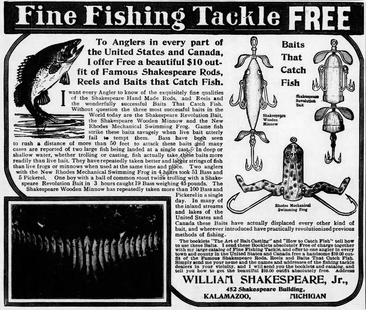 """Shakespeare Antique Lure Ad 1906 - http://www.finandflame.com/shakespeare-antique-lure-ad-1906/ - #Baits, #Bass, #Fishing, #Lure, #Revolution, #Shakespeare, #ShakespeareAntiqueLureAd1906, #WoodenMinnow - Shakespeare Antique Lure Ad 1906 ThisShakespeare Antique lure Ad 1906 was taken from """"The Evening Star"""" newspaper and shows us the New addition of the Rhodes Mechanical Swimming Frog to its Artificial bait arsenal. The ad illustrates the Shakespeare Revolution,"""