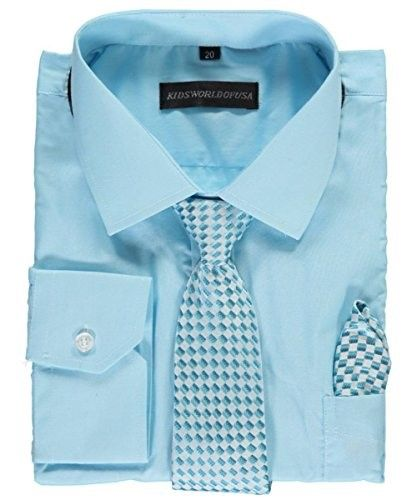 800afa771306b Kids World Big Boys' Dress Shirt with Accessories - turquoise,, Boy's,  Size: 18, Blue