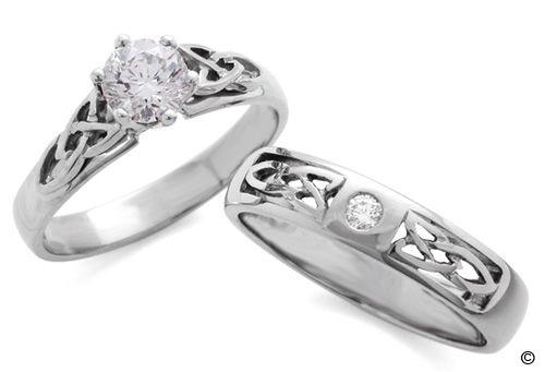 Celtic Knot Wedding Bands Diamond Celtic Trinity Knot Engagement