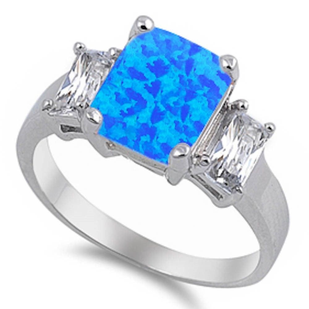 Solid sterling silver carat emerald cut lab blue opal