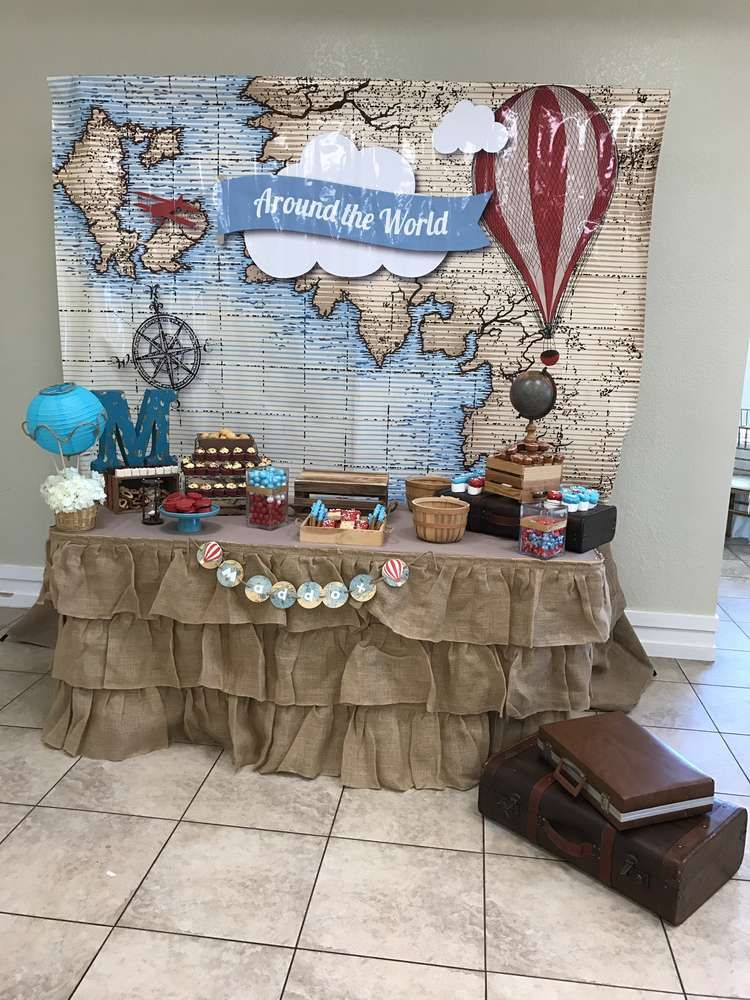Around The World Baby Shower Party Ideas Photo 1 Of 16 Travel Party Theme Adventure Baby Shower Airplane Birthday Party