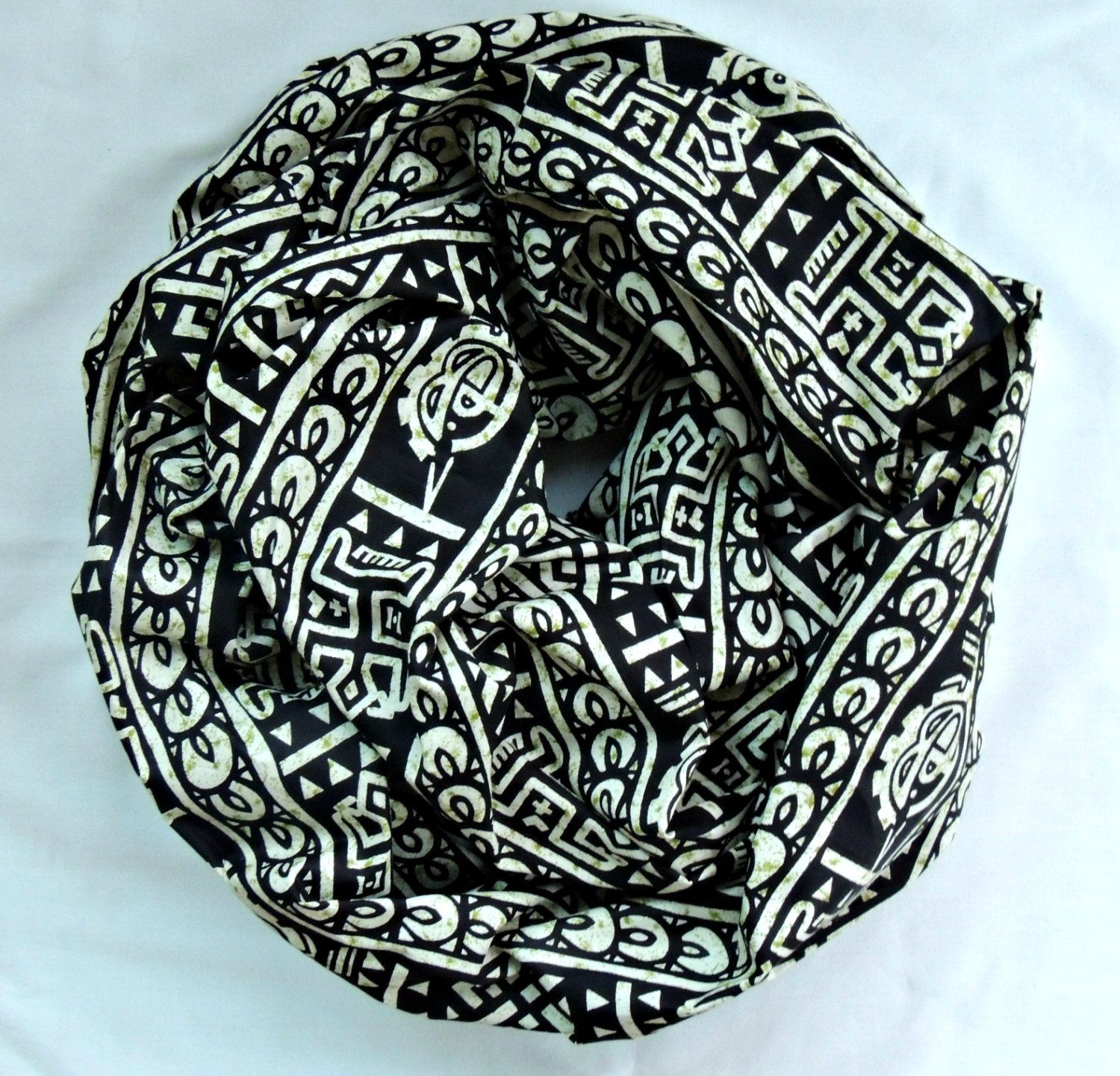 Black Tan and Green African Print Infinity Scarf by SewSophistikated on Etsy