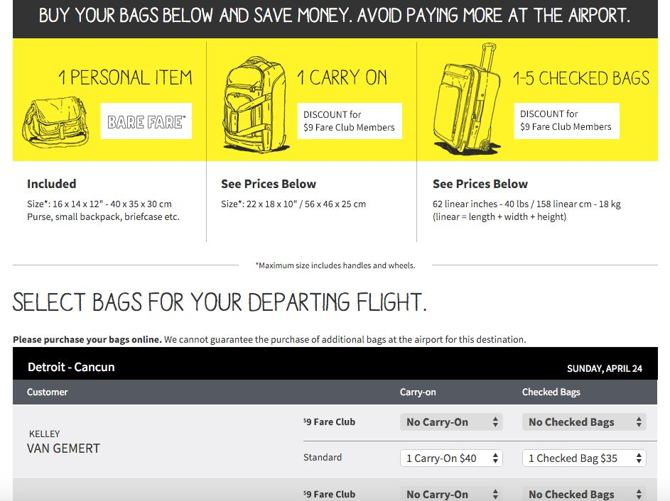172749efc Spirit Airlines - Baggage Sizes & Prices   Vacation Ready!   Best ...