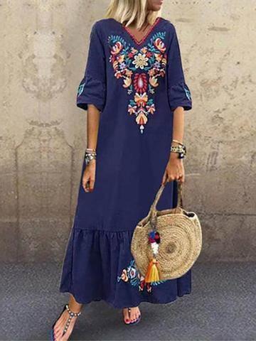 Print Ankle-Length V-Neck A-Line Geometric Dress