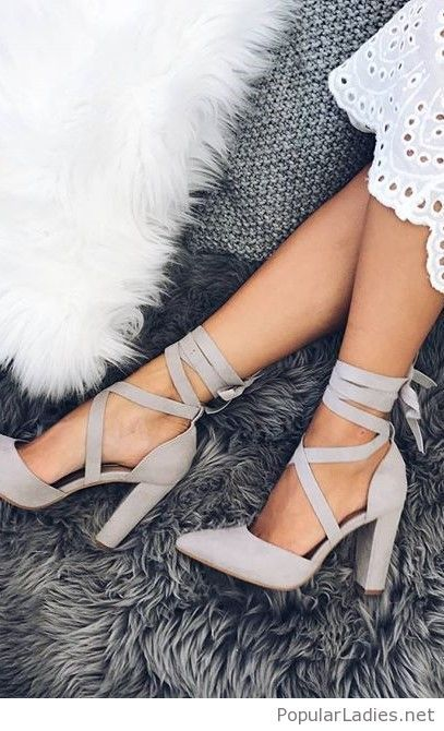 Grey lace up shoes and white lace dress