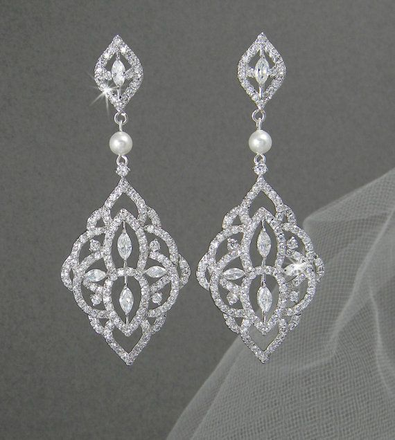 Crystal Bridal Earrings Chandelier Pearl Wedding Jewelry Swarovski Mackenzie