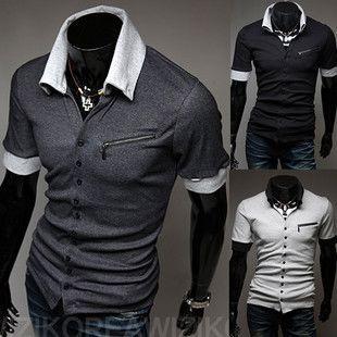 Unique Design NEW Men's Korean Fashion Slim Polo Shirt T-shirt 3492 3Color