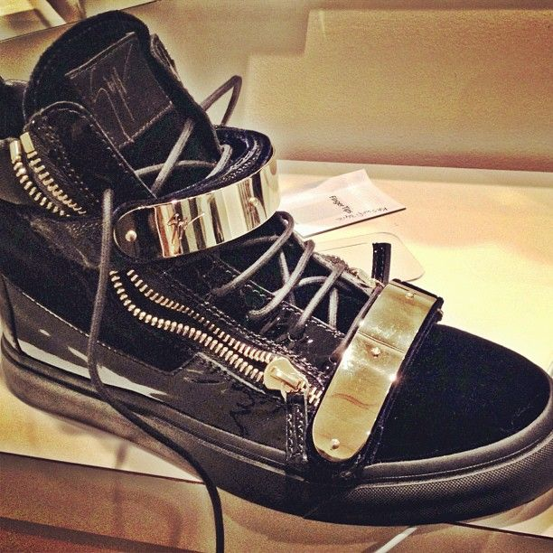 Strap Double Homme Giuseppe Plated Gold Zip Dual High Top Zanotti qwEE56xX
