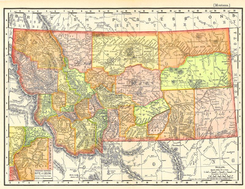 old map of Montana from 1904, instant download, detailed and ...